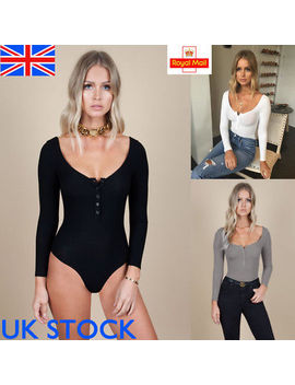 Uk Women Ladies Long Sleeve Button Down Bodysuit Slim Fit Stretch Leotard Top by Ebay Seller