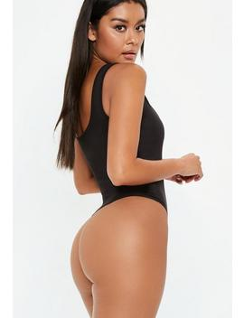 Black Slogan Scoop Neck Bodysuit by Missguided