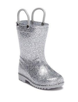 Silver Glitter Rainboot (Toddler) by Lilly Of New York