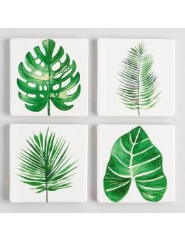 Botanical Leaf Ceramic Coasters Set Of 4 by World Market