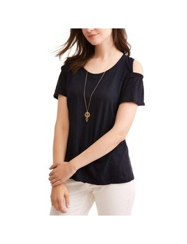 Women's Flutter Sleeve Cold Shoulder Top by Caribbean Joe