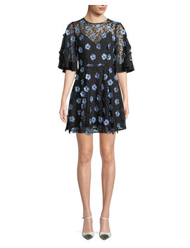 Crave You Floral Lace Mini Dress by Neiman Marcus