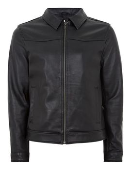 Leather Harrington Jacket by Topman