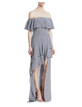 Off The Shoulder Striped Flounce Gown by Neiman Marcus