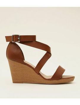Wide Fit Tan Leather Look Strappy Wood Wedges by New Look