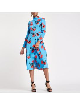 Blue Floral Print High Neck Midi Dress by River Island