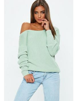 Mint Green Off Shoulder Knitted Sweater by Missguided