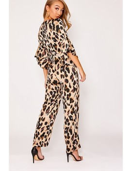 Binky Gold Leopard Print Satin Frill Jumpsuit by In The Style