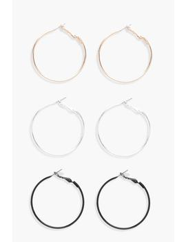 Mixed Colour Hoop Earring 3 Pack by Boohoo