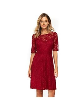 Wallis   Wine Lace Short Sleeve Fit And Flare Dress by Wallis