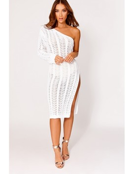 Ethele White Knitted One Shoulder Midi Dress by In The Style