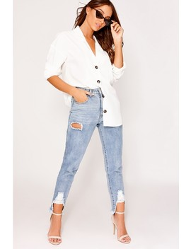Mikala White Button Detail Shirt by In The Style