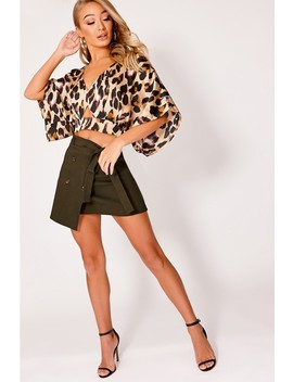 Binky Gold Leopard Print Satin Kimono Sleeve Top by In The Style