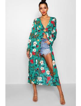Tall Floral Maxi Kimono Top by Boohoo