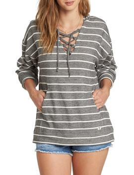 Weekend Lover Stripe Lace Up Hoodie by Billabong
