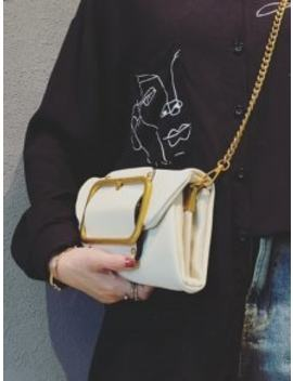 Buckle Pu Leather Flap Crossbody Bag   White Horizontal by Zaful