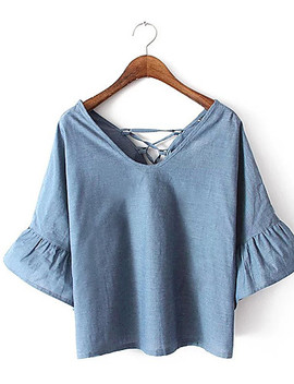 Women's Vintage T Shirt   Solid Colored Tassel  #06789188 by Lightinthebox
