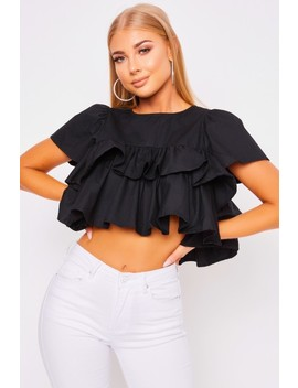 Roxy Black Frill Top by Misspap