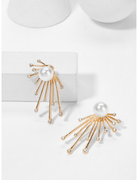Faux Pearl Top Rays Shaped Earrings by Sheinside