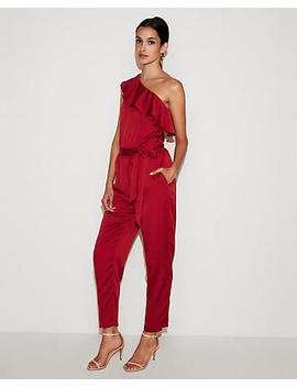 One Shoulder Ruffle Front Jumpsuit by Express