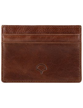 Genuine Leather Credit Card Holder Wallet & Giftbox, Walnut Brown   Rfid Blocking, 5 Pockets, Slim Design by Atara