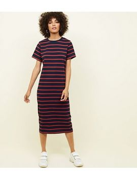 Navy Stripe Midi T Shirt Dress by New Look