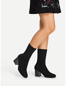 Block Heeled Knit Sock Boots by Sheinside