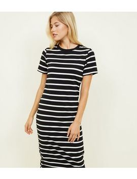 Black Stripe Midi T Shirt Dress by New Look