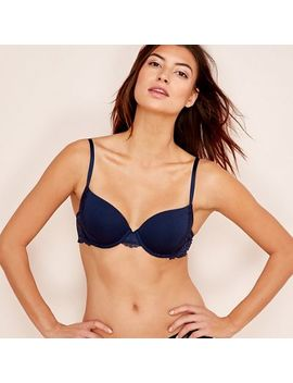 The Collection   Navy Lace Cotton Blend Underwired Padded T Shirt Bra by The Collection