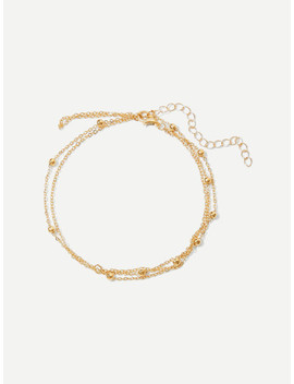 Metal Ball Detail Layered Chain Anklet by Sheinside