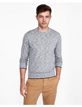 Cotton Tipped Crew Neck Sweater by Express