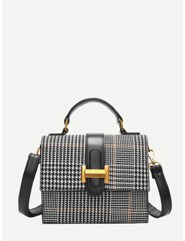 Plaid Detail Metal Shoulder Bag by Sheinside