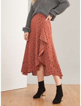 Asymmetrical Hem Polka Dot Print Skirt by Shein