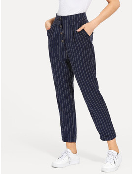 Slant Pocket Button Up Striped Pants by Shein