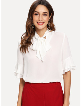 Tie Neck Layered Bell Sleeve Top by Shein