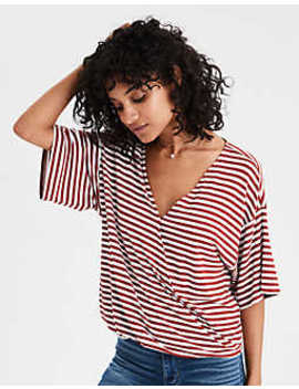 Ae Soft & Sexy Ribbed Striped Surplice Dolman by American Eagle Outfitters