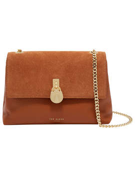 Ted Baker Helena Padlock Detail Leather Cross Body Bag, Tan by Ted Baker