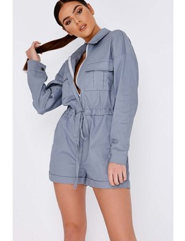 Pia Mia Blue Combat Utility Playsuit by In The Style