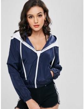 Zip Up Two Tone Windbreaker Jacket   Dark Slate Blue M by Zaful