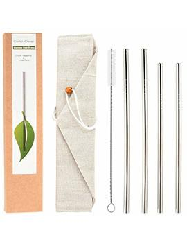 "Reusable Stainless Steel Straws Set Of 4, Wide Mouth Drinking Metal Straws For 20 30 Oz Tumbler, Eco Friendly & Bpa Free With Anti Scratch Tips For Kid, 2x9.5""+ 2x10.5""+1x Cleaning Brush, Straight by Compu Clever"