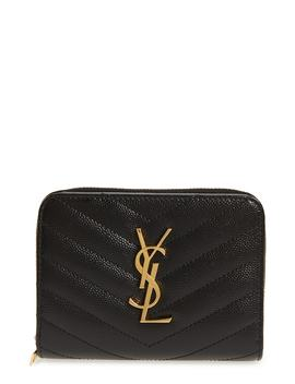 Monogramme Compact Quilted Zip Around Wallet by Saint Laurent