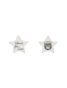 Silver Star 'blind For Love' Stud Earrings by Gucci