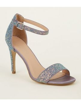 Purple Glitter Ankle Strap Stilettos by New Look