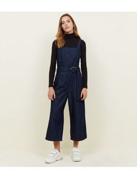 Blue Rinse Wash Belted Denim Culotte Jumpsuit by New Look