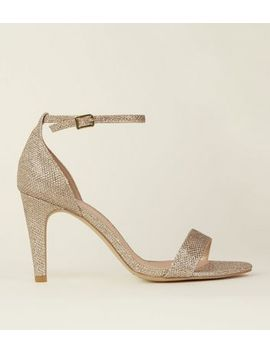 Wide Fit Gold Glitter Two Part Heeled Sandals by New Look