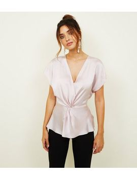 Pale Pink Satin Twist Wrap Front Top by New Look