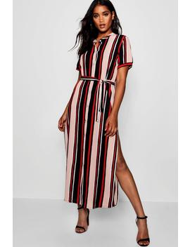 Suzi Stripe Button Through Split Midi Dress by Boohoo
