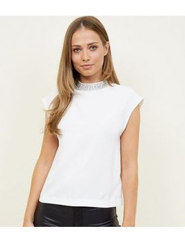 Off White Diamanté Neck Cap Sleeve Top by New Look