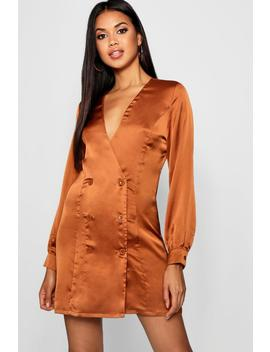 Satin Blazer Dress by Boohoo