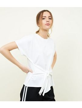 Cream Ribbed Tie Waist T Shirt by New Look
